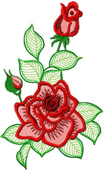 Rose lace free embroidery design flowers machine