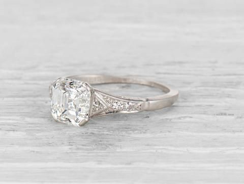 Photo of 1.55 Carat Late Art Deco Diamond Engagement Ring