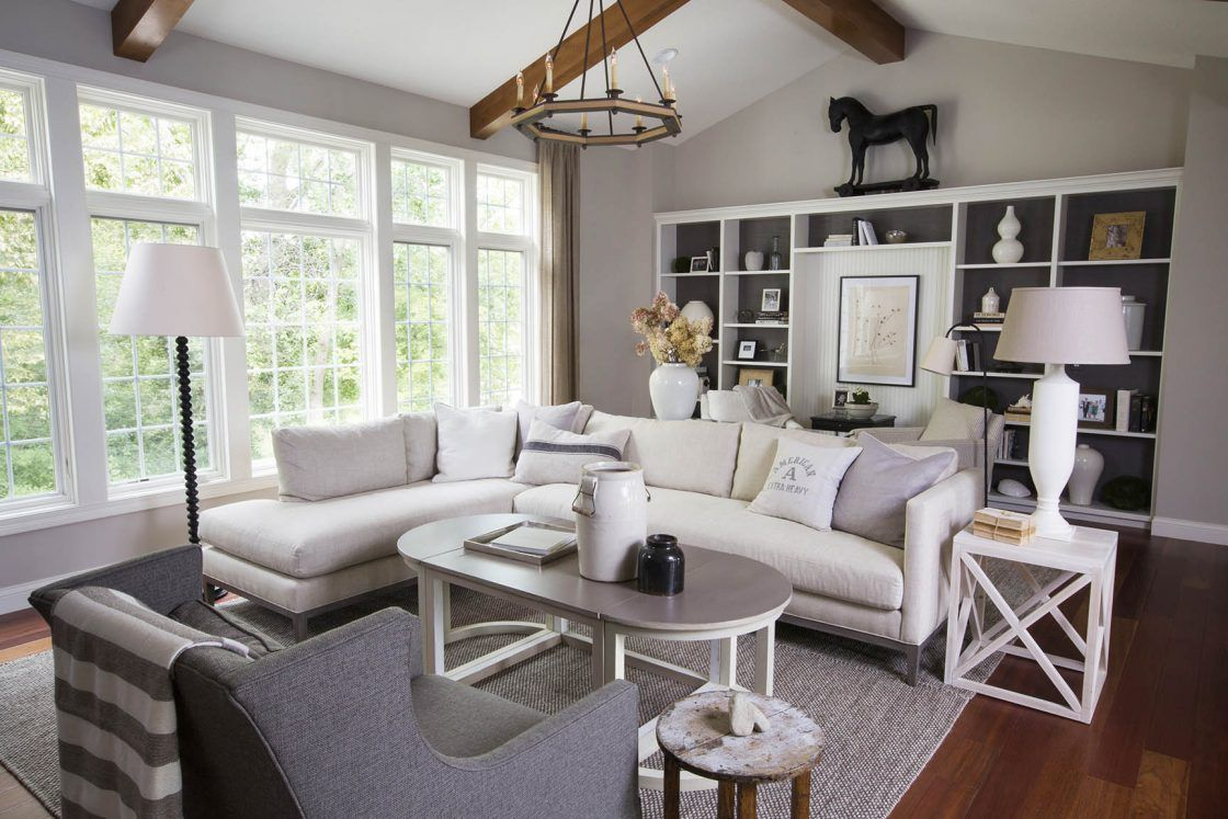 Amazing Neutral Living Room With White Sectional Sofa. R. Cartwright Design   Des  Moines Iowa