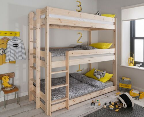 Triple Sleeper Bed Bunk Kids Bed 3 Tier In Natural Pine Henrik Literas Para Niñas Habitación Para Tres Niños Decoración De Literas