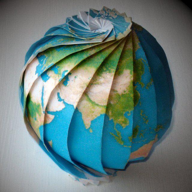 Origami Earth | Origami paper art, Origami, Paper globe