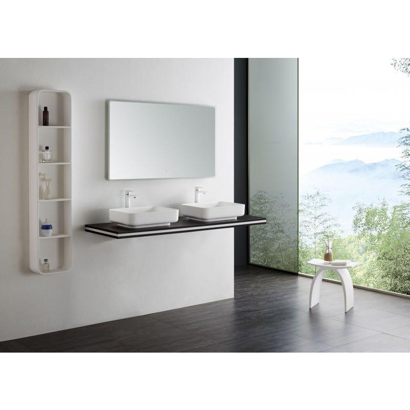 Console Double Vasque En Mdf Smart Line Wenge Largeur Selectionnable Support De Fixation En Option 100cm Sans Support Sans Support In 2019 Dressing Table Mirror Mirror Bathroom