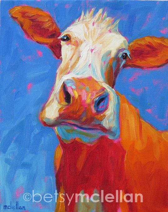 Cow Painting Cow Print Cow Art Cow Decor Baby Shower Gift Nursery Decor Nursery Prints Art For Kids Room Playroom Decor Malerier Inspiration Og Billedkunst