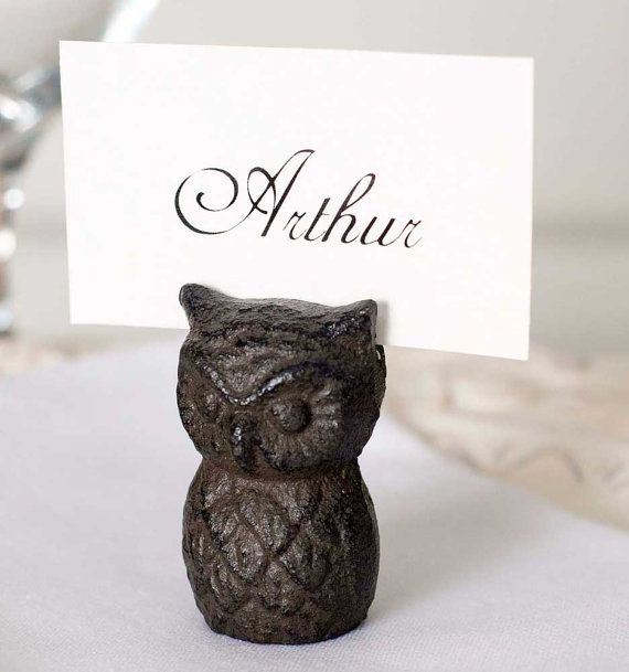 cast iron owl nameplace card holder set of 4 great party supply by