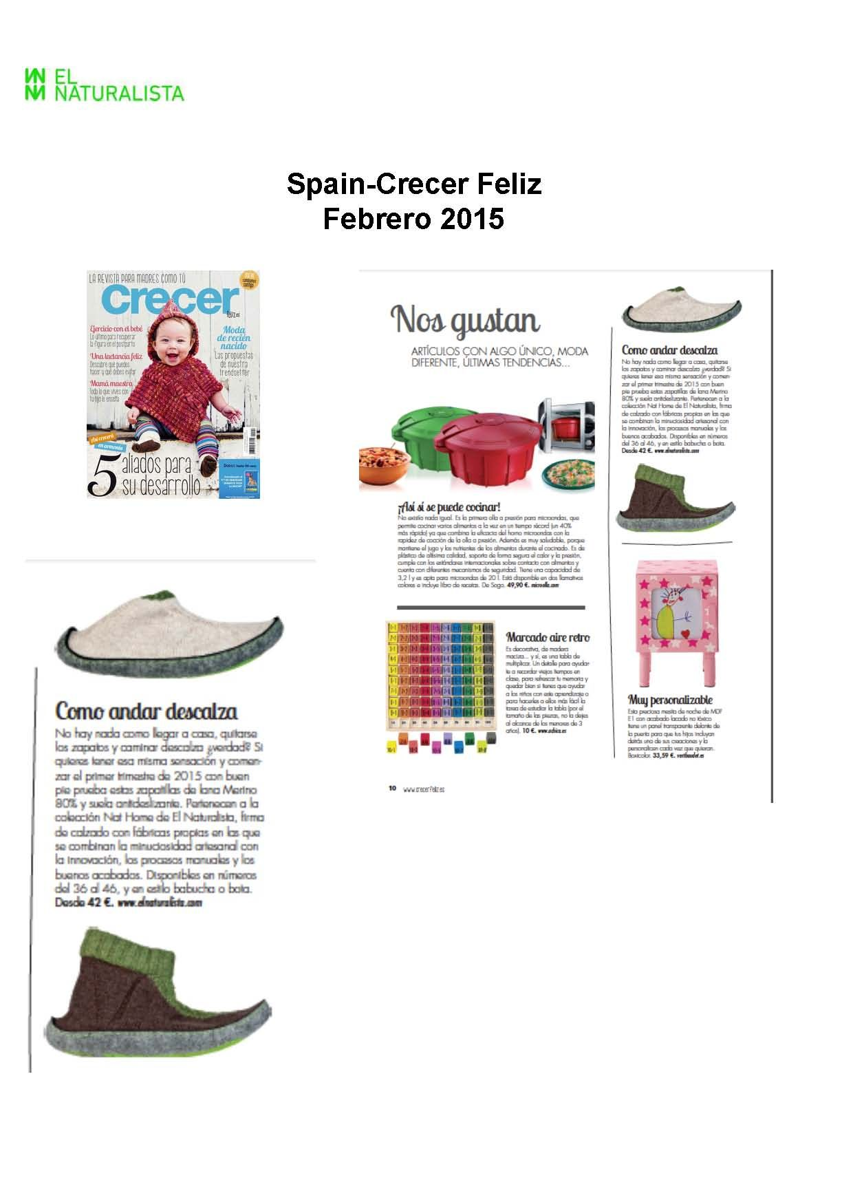 Our home shoes on Spanish magazine Crecer feliz.