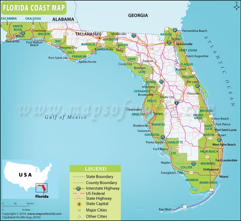 Image Result For Treasure Coast Map Of United States Climate - Map of eastern us beaches