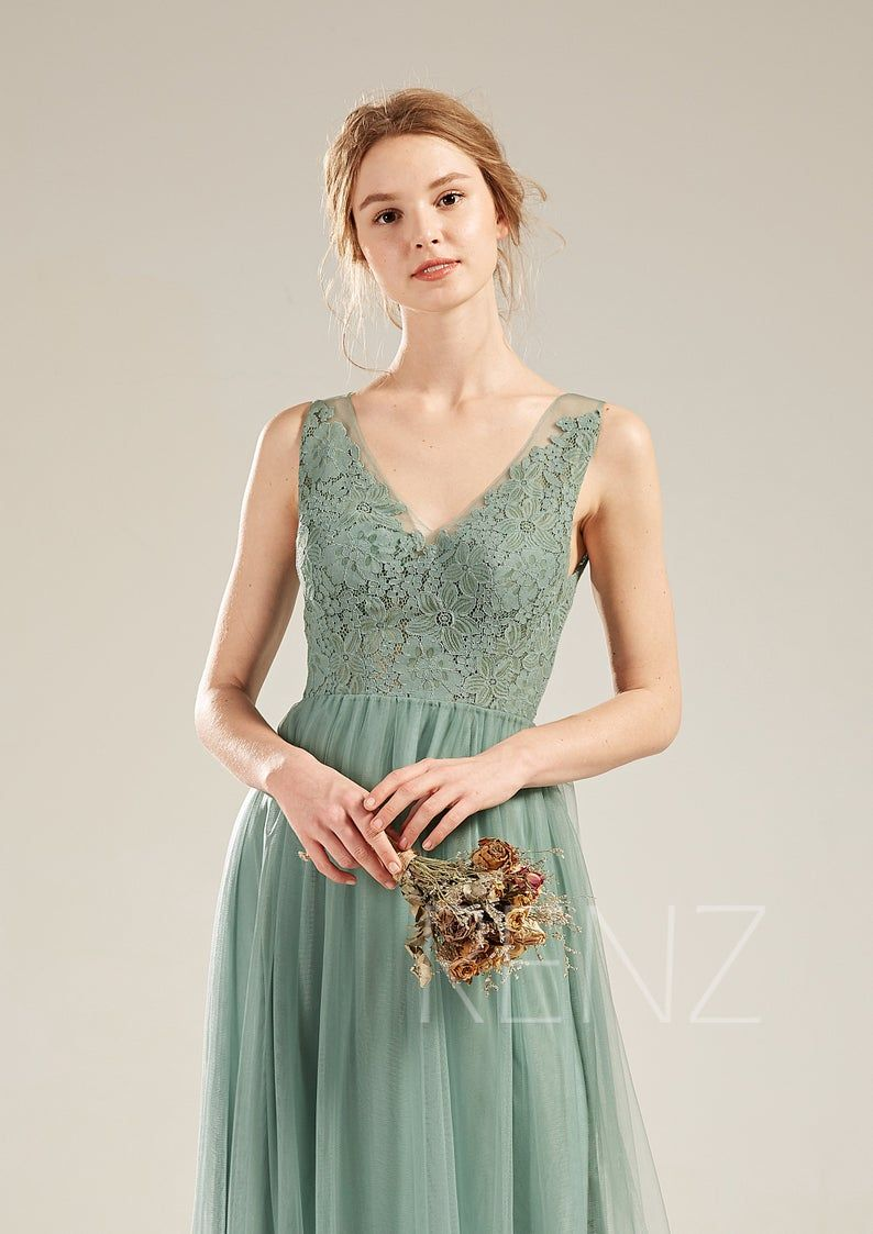 Party Dress Dusty Green Tulle Bridesmaid Dress Lace Illusion V