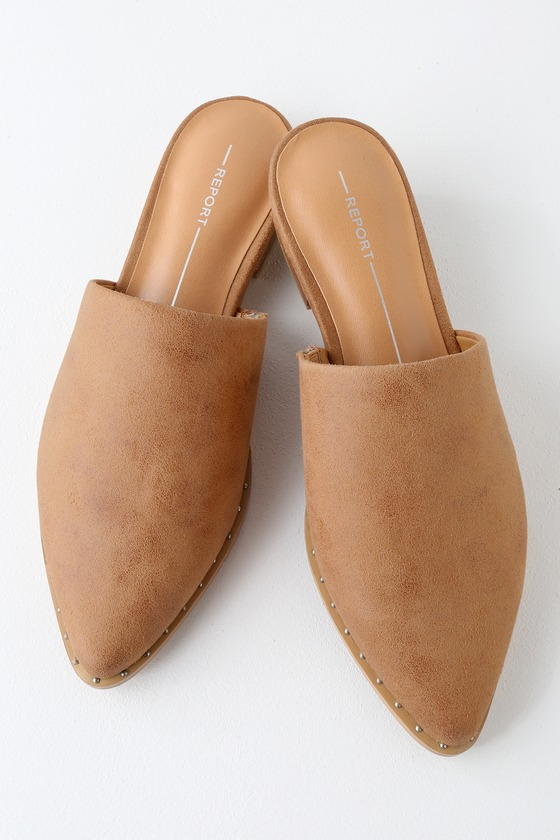 Ira Tan Suede Pointed Toe Mules | Tan