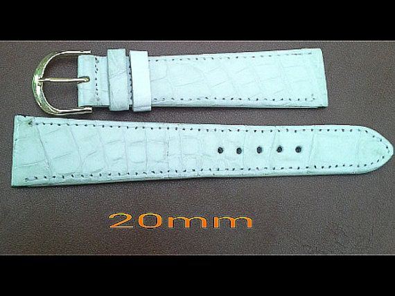 Crocodile leather watch strap 20 mm cream by G2Pleather on Etsy