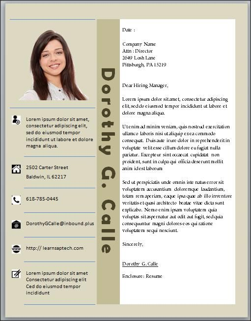 CV Template Word Downloadable, Editable, Customized, Photo picture - cover letter microsoft word