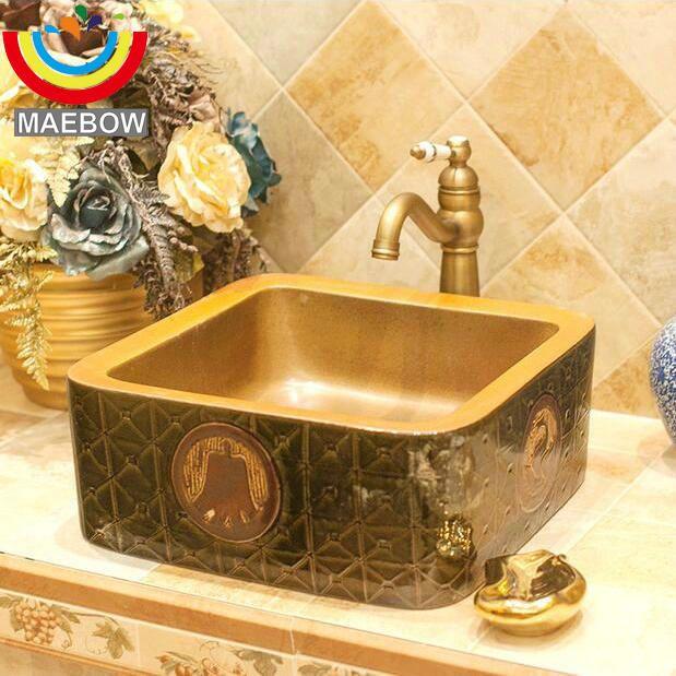 Handmae Artistic Embossed China Vintage Bronze Ware Style