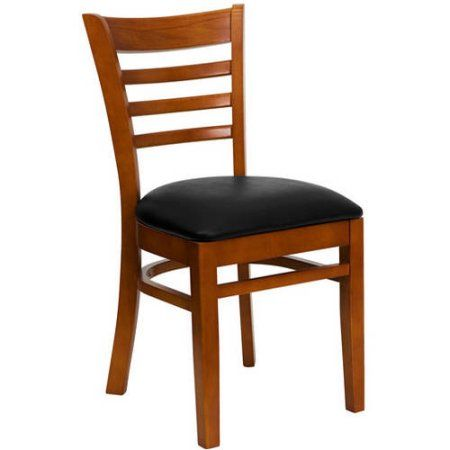 Ladder Back Chairs, Set of 2, Cherry with Black Vinyl Seat, Red