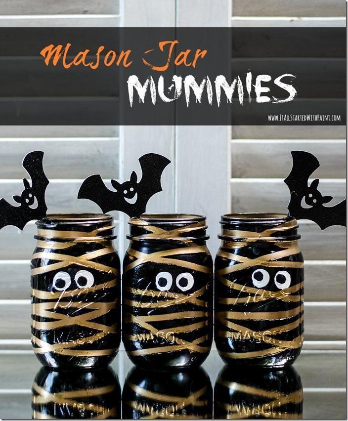 Mason Jar Mummies Halloween Party Ideas