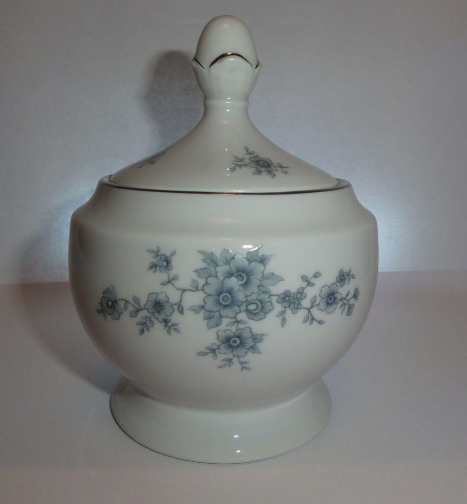 Sugar bowls with lids - Winterling Schwarzenbach Bavaria Porcelain Sugar Bowl Blue Lid Flowers Wig 48