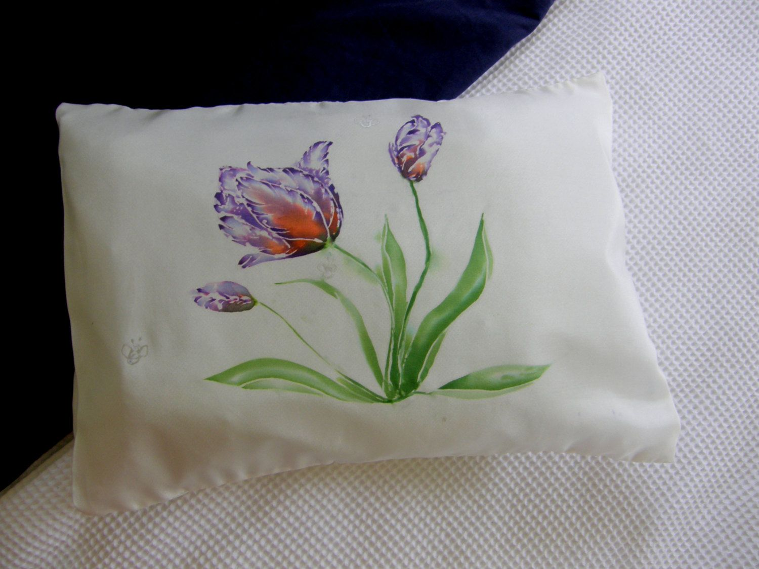 TULIP SILK PILLOW for Health and Beauty. Hand painted, New Zealand made,  Baby Pillow. Pillow case, Inner included, 25cm x 36cm. Luxury++ by KiwiSilks on Etsy