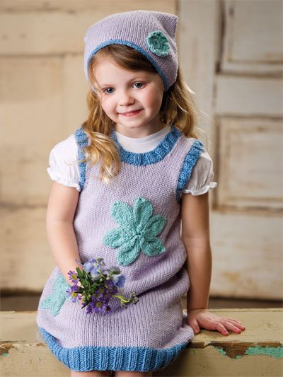 Knitting - Patterns for Children & Babies - Gift Set Patterns - Simple Springtime Jumper & Kerchief