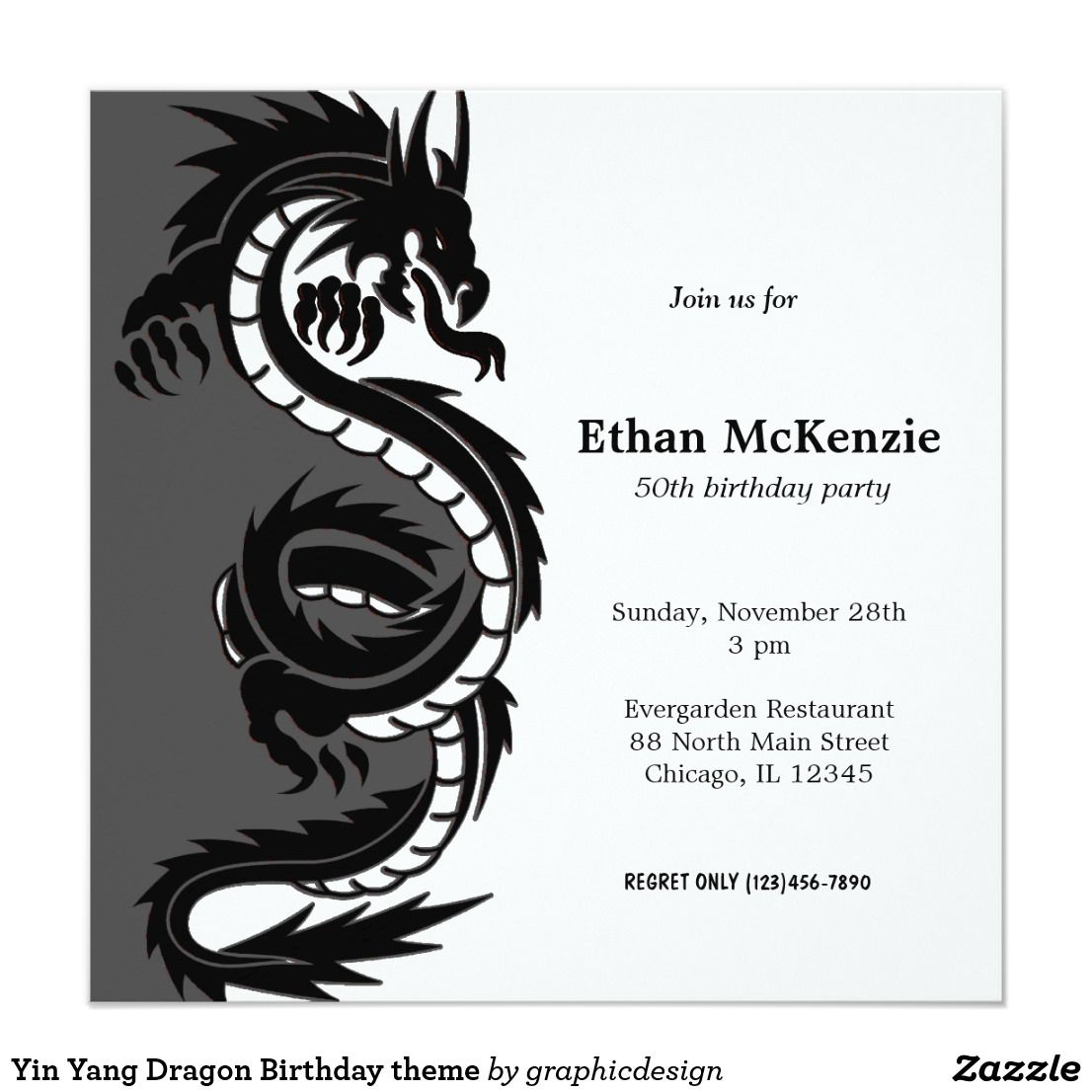 Yin Yang Dragon Birthday theme Invitation   { Happy Birthday ...