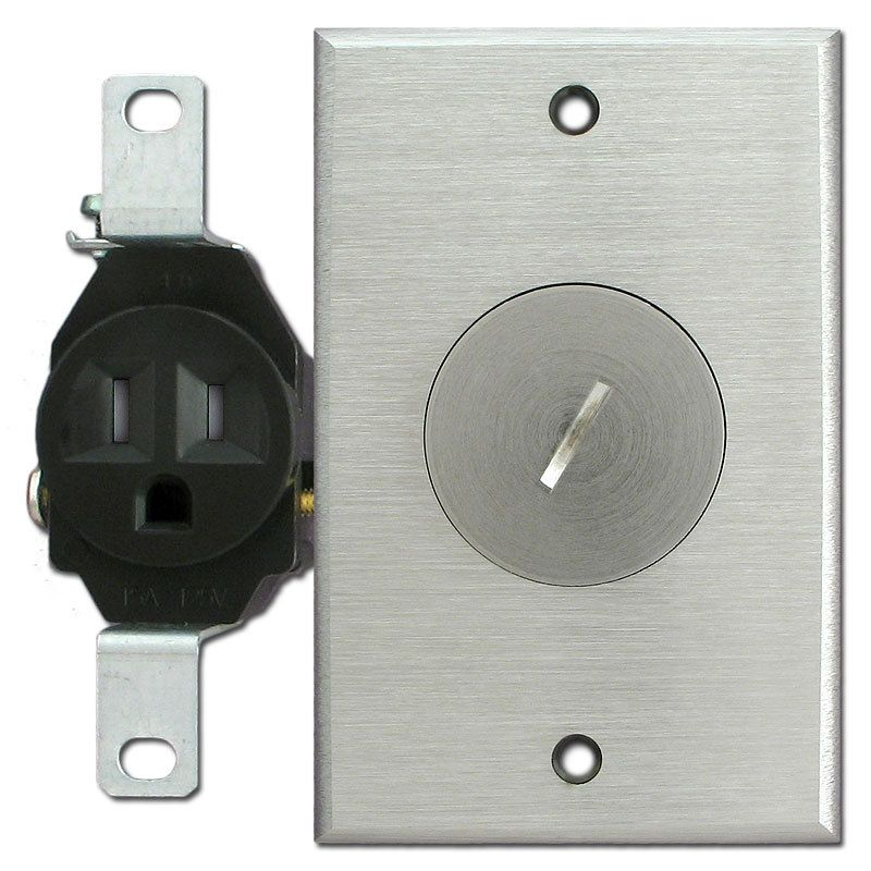 Tamper Resistant Single Receptacle Nickel Outlet Cover Floor Box