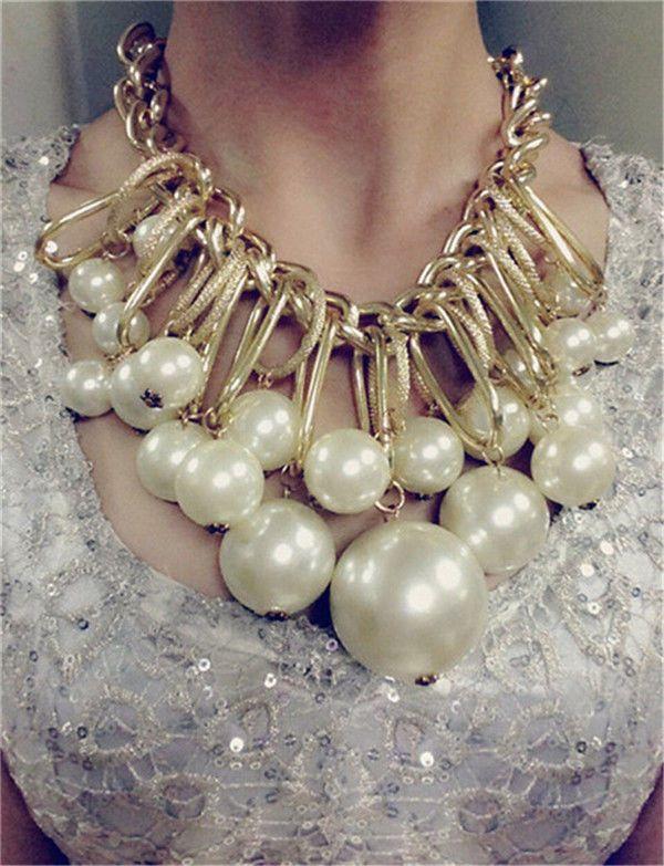 3dc0b174b946 Moda Mujer Joyas perlas collar cadena declaración babero grueso collar  colgante