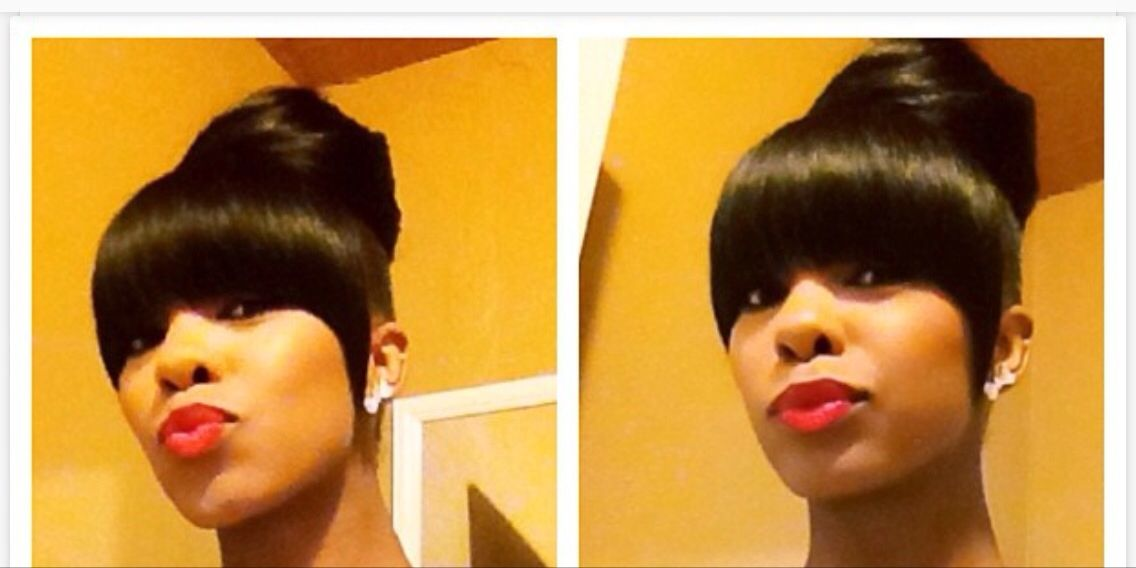 Simple Bang And Bun Weave Cute