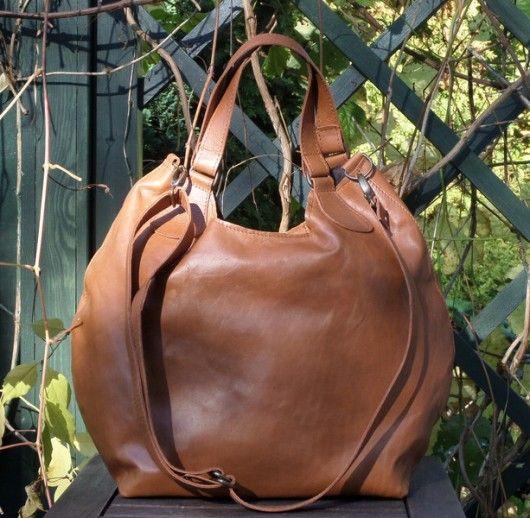 Kamelowa gładka torba