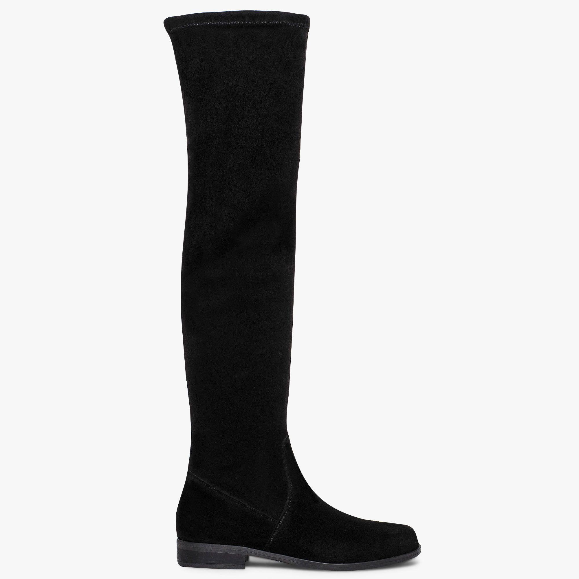 Cuissarde noire en cuir velours et talon plat | Chaussures