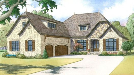 Home Plan HOMEPW77877 - 2409 Square Foot 3 Bedroom 2 Bathroom European Home with 3 Garage Bays |