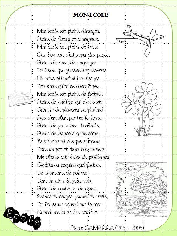 Poésie Mon École de Pierre Gamarra - poèmes et poésies