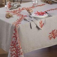 Tovaglia in puro lino grezzo ricamata a mano ricamo - Disegni punto croce per tovaglie da tavola ...