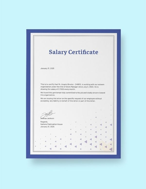 23  Salary Certificate Formats