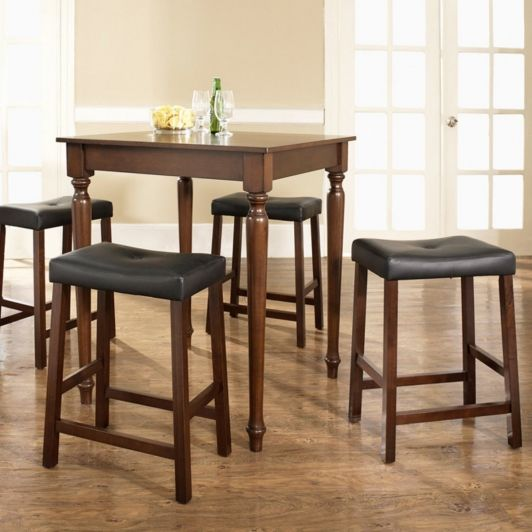 5-Piece Pub Dining Set with Turned Leg and Upholstered Saddle Stools - Home and Garden Design Ideas