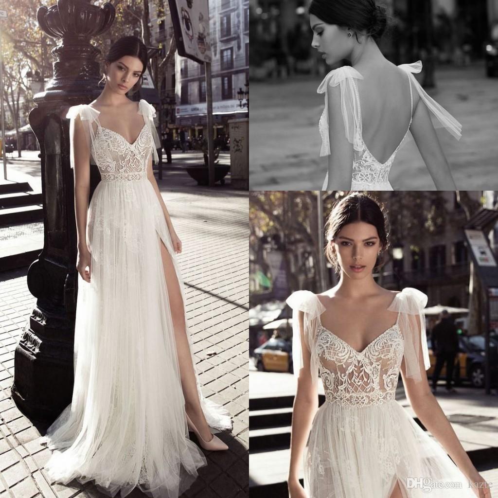 Gali karten greek goddless split wedding dresses elegant lace