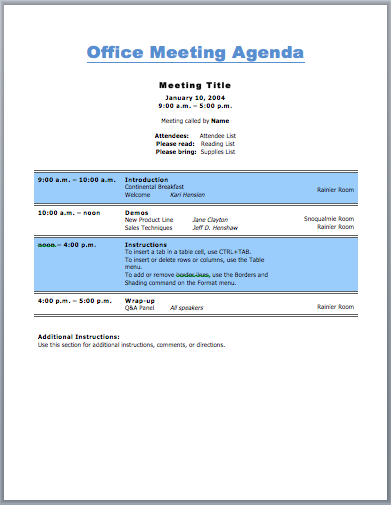 office meeting agenda template  for business purpose