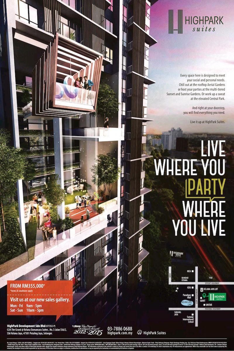 Highpark Suites Kelana Jaya Live Where You Party Real Estate Ads Property Ad Design