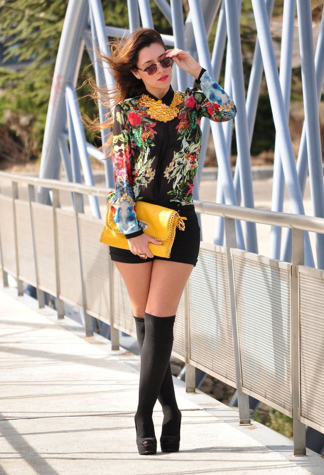 Socks and Heels, blouse with floral prints, bright yellow color: Ready for Spring 2014! #trend