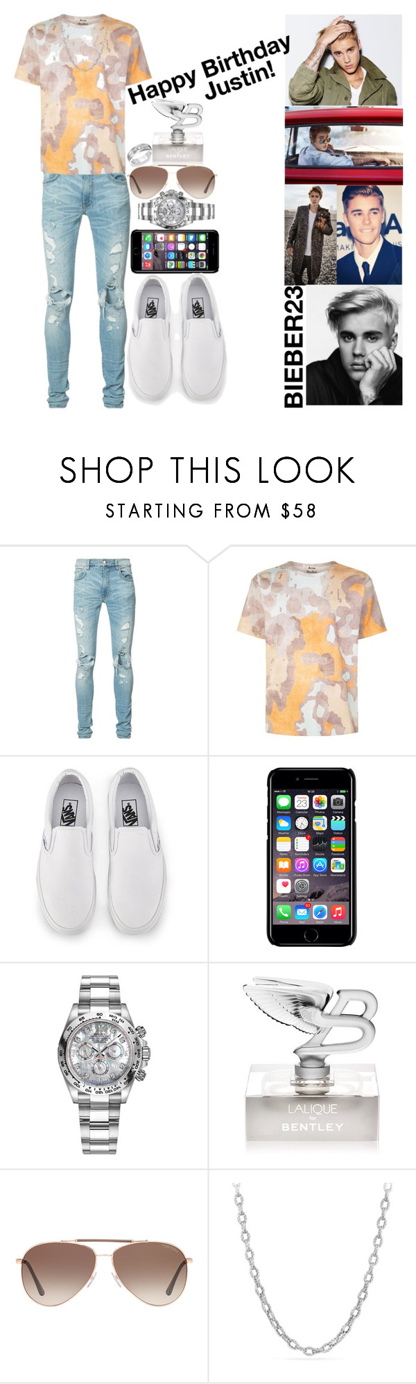 """""""Happy 23th Birthday Justin!"""" by ludyabelieveinme ❤ liked on Polyvore featuring AMIRI, Acne Studios, Vans, Off-White, Rolex, Bentley, Tom Ford, David Yurman and Justin Bieber"""