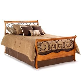 Dunhill Wood And Iron Bed Autumn Brown Honey Oak Finish Bed Styling Sleigh Beds Iron Bed