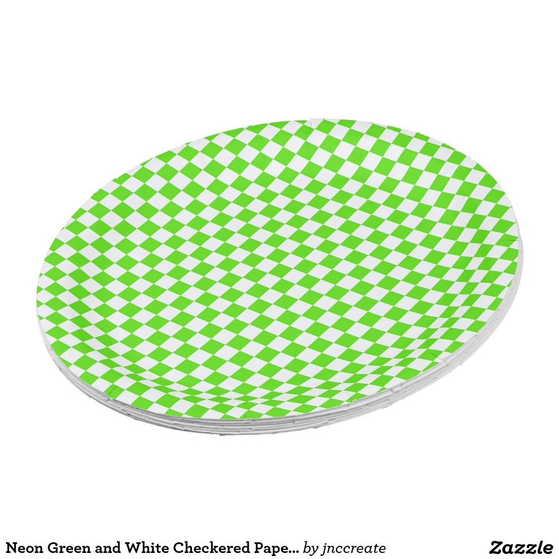 Neon Green and White Checkered Paper Plates  sc 1 st  Pinterest & Neon Green and White Checkered Paper Plates | Anytime Party Supplies ...