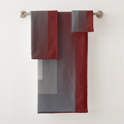 Teal Gray Burgundy Bath Towel Set