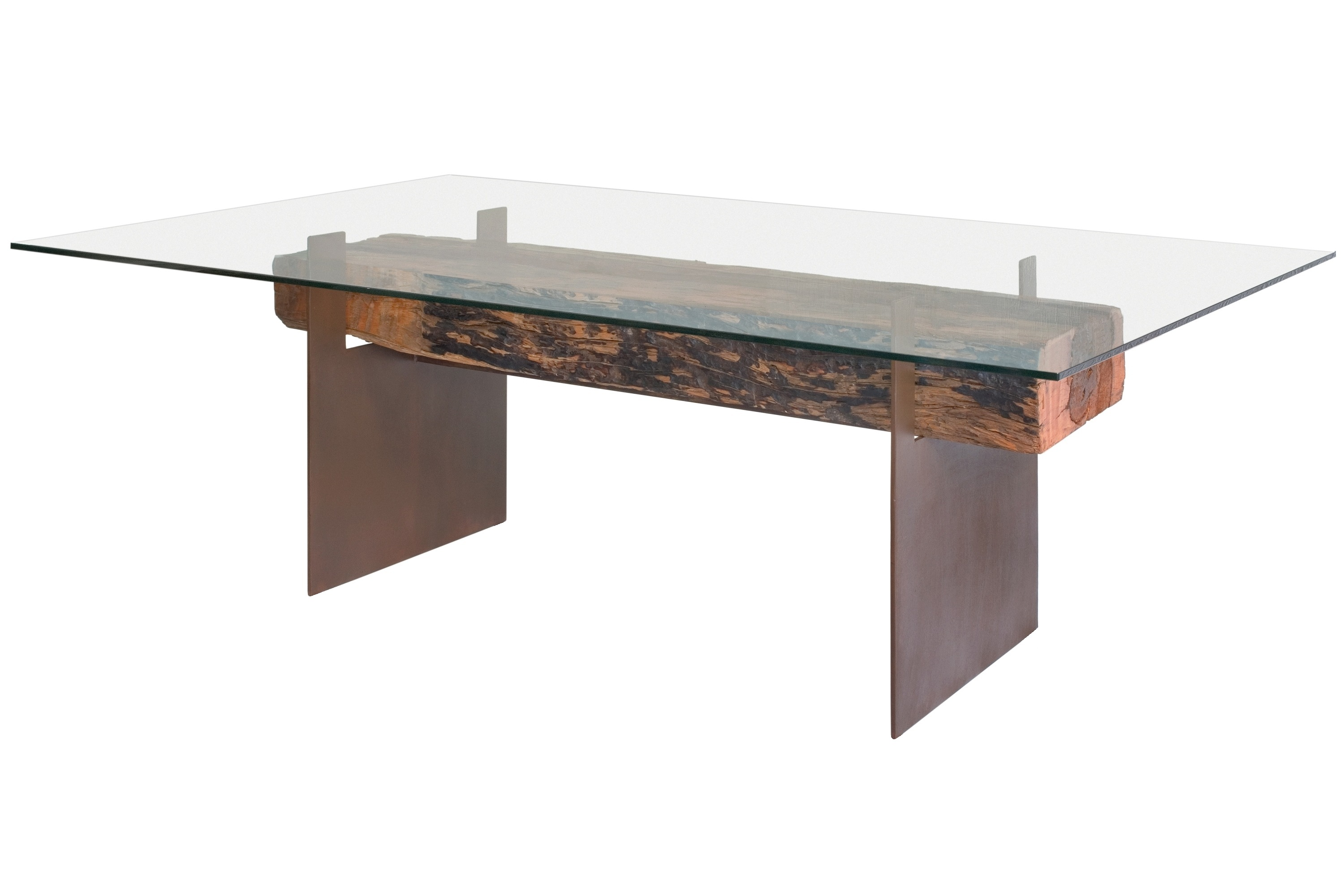 Glass top dining table made with a reclaimed beam for Metal desk with wood top