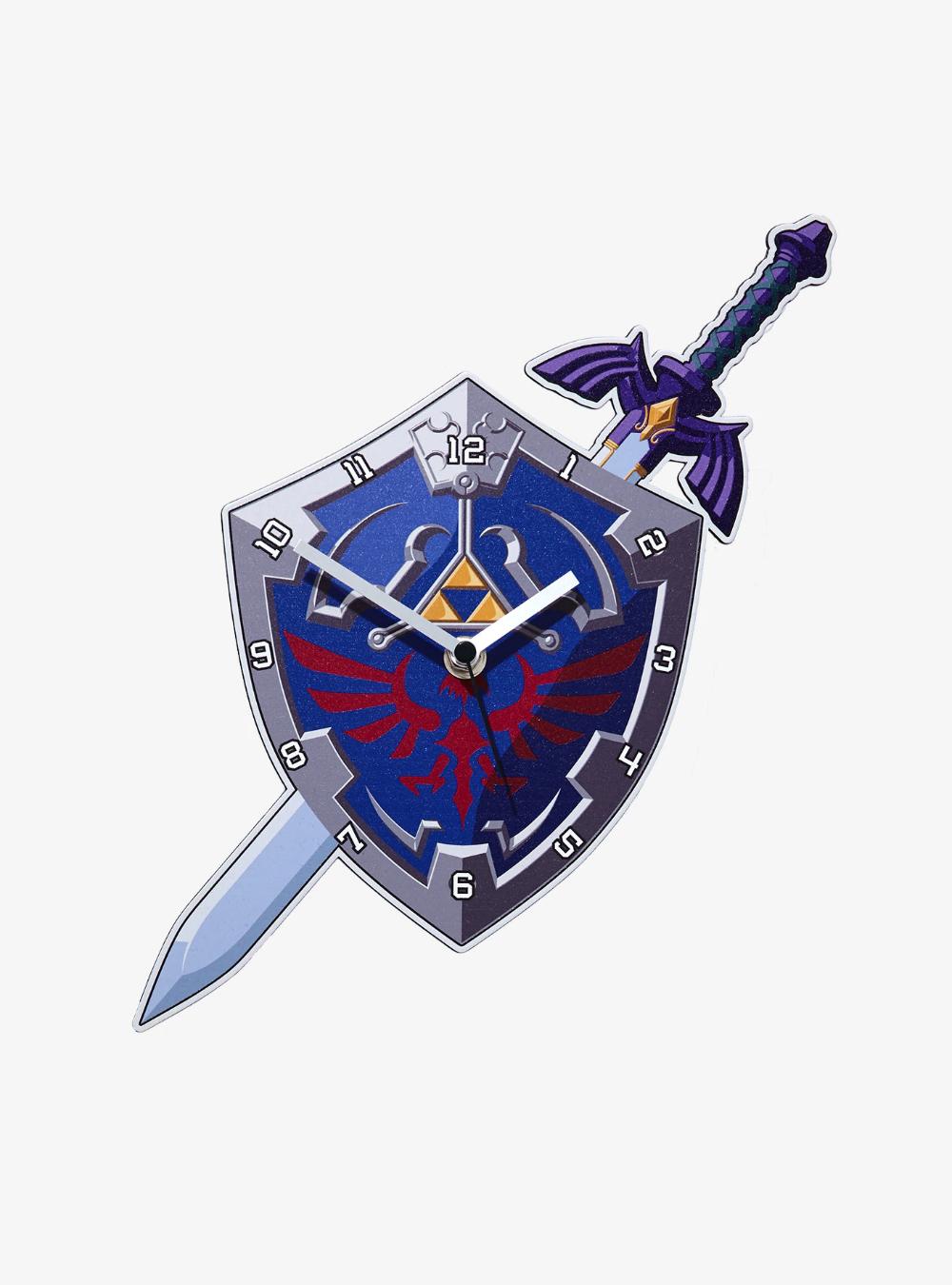 The Legend Of Zelda Hylian Shield Master Sword Wall Clock Master Sword Legend Of Zelda Zelda Sword