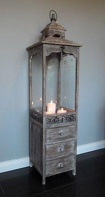 xxl holz laterne mit schubladen antik look braun 124 cm. Black Bedroom Furniture Sets. Home Design Ideas
