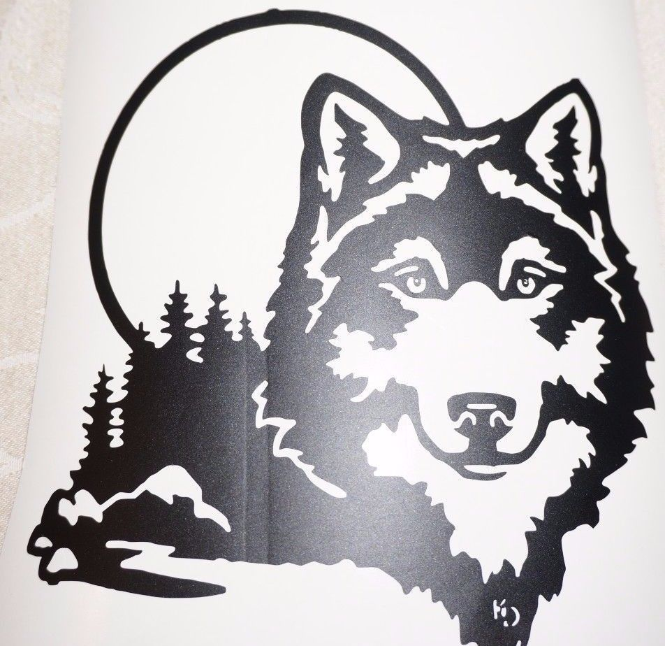Wild Animal Timber Canine *Free Shipping* HOWLING WOLF Head Vinyl Sticker