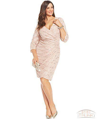 0c6808801e9 Alex Evenings Plus Size Sequined Faux-Wrap Dress
