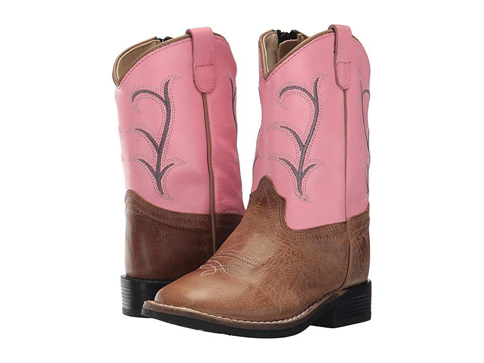 87a768521a4 Old West Kids Boots Broad Square Toe (Toddler) Cowboy Boots Tan Fry ...