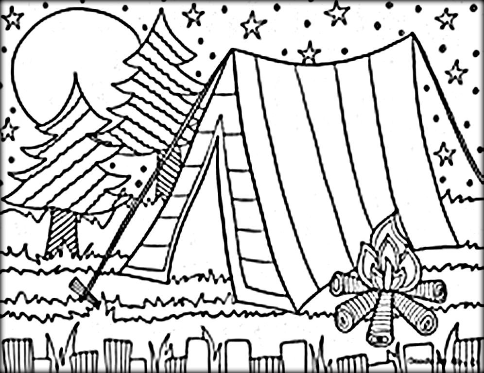 Camping Colouring Pages For Kids Summer Coloring Pages Camping