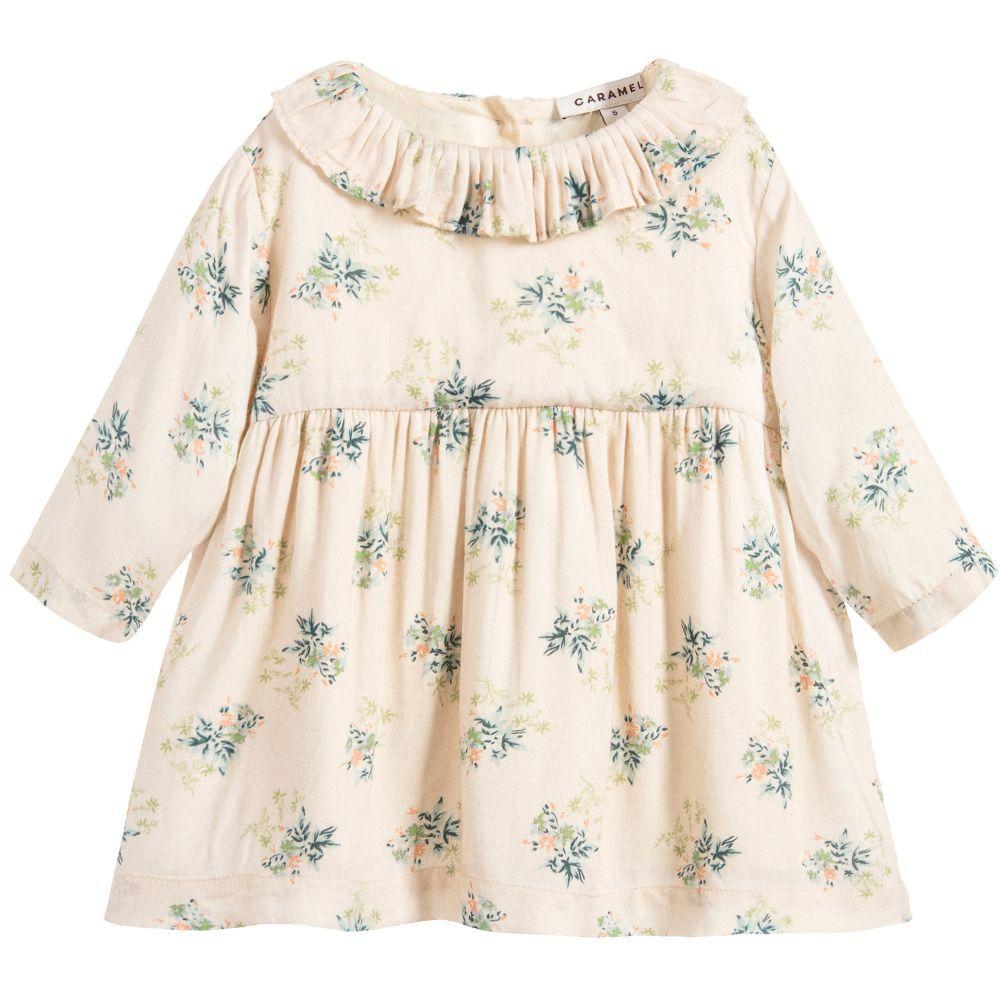 72e3500f8a80 Baby Girls Beige Floral Dress