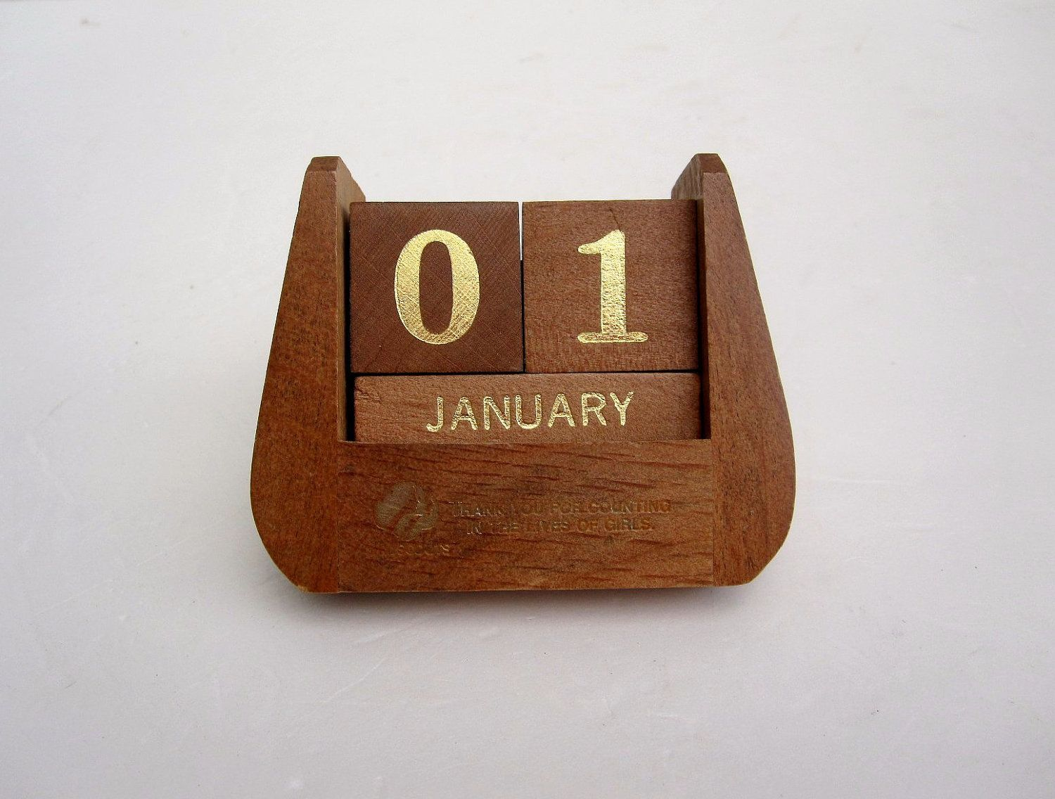 Perpetual Calendar New Years Desk Accessory Brown And Gold Wood