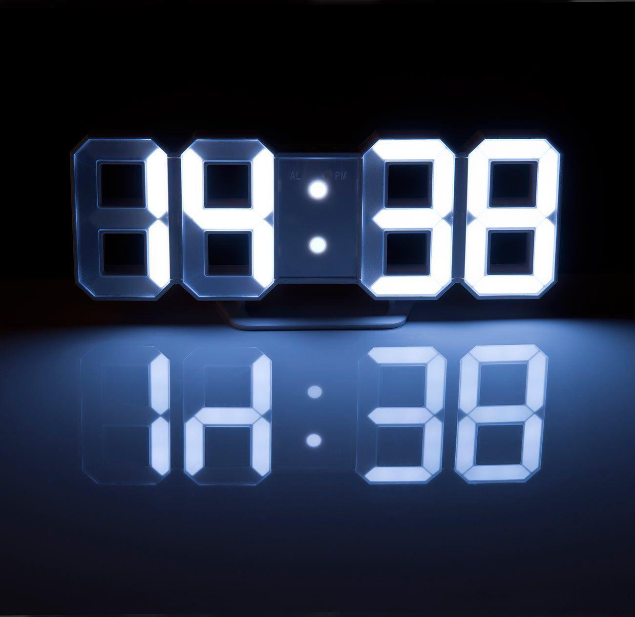 Lunartec Digital Uhr Große Digital Led Tisch Wanduhr 7 Segmente
