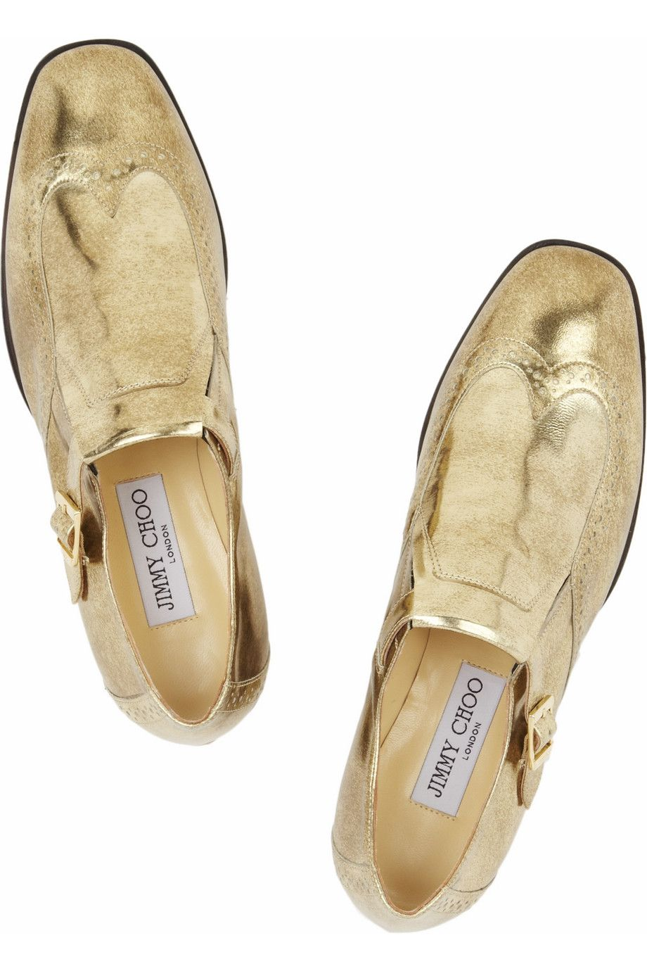 Jimmy Choo - Metallic leather monk-strap loafers